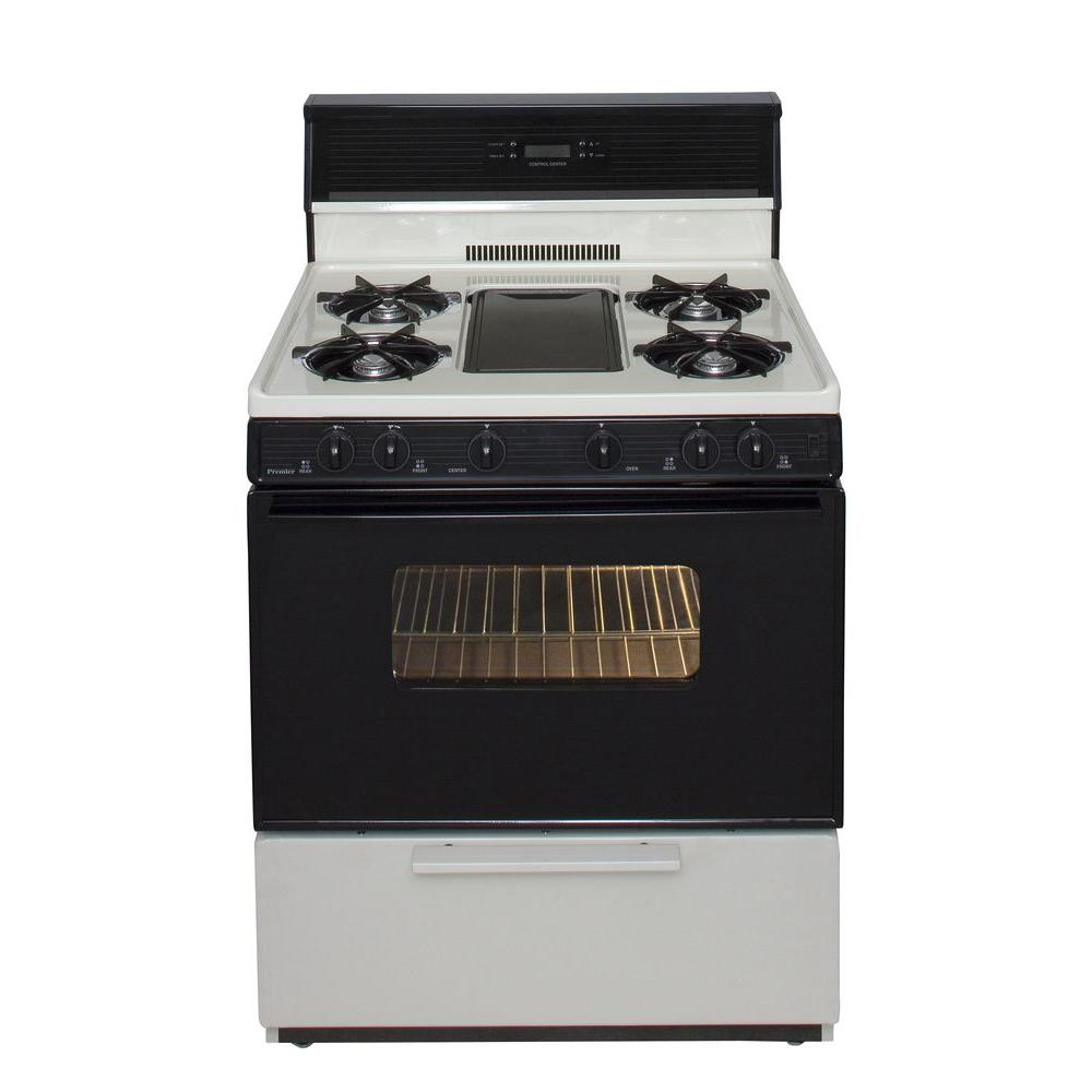 Premier 30 in. 3.91 cu. ft. Freestanding Gas Range with 5th Burner and Griddle Package in Biscuit