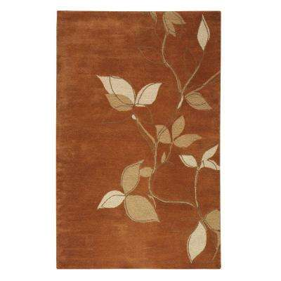 Leaves Terra Cotta 3 ft. x 5 ft. Area Rug