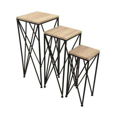 27.5 in. Brown Wood and Metal Table (Set of 3)