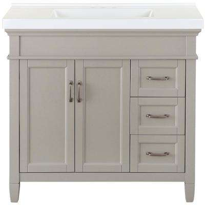 Ashburn 37 in. W x 22 in. D Bath Vanity in Grey with Cultured Marble Vanity Top in White with White Sink
