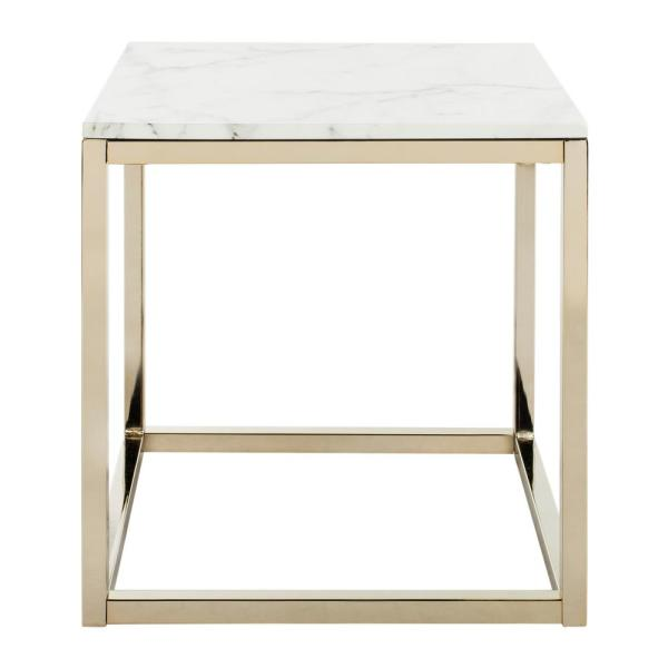 Bethany White Marble and Brass End Table