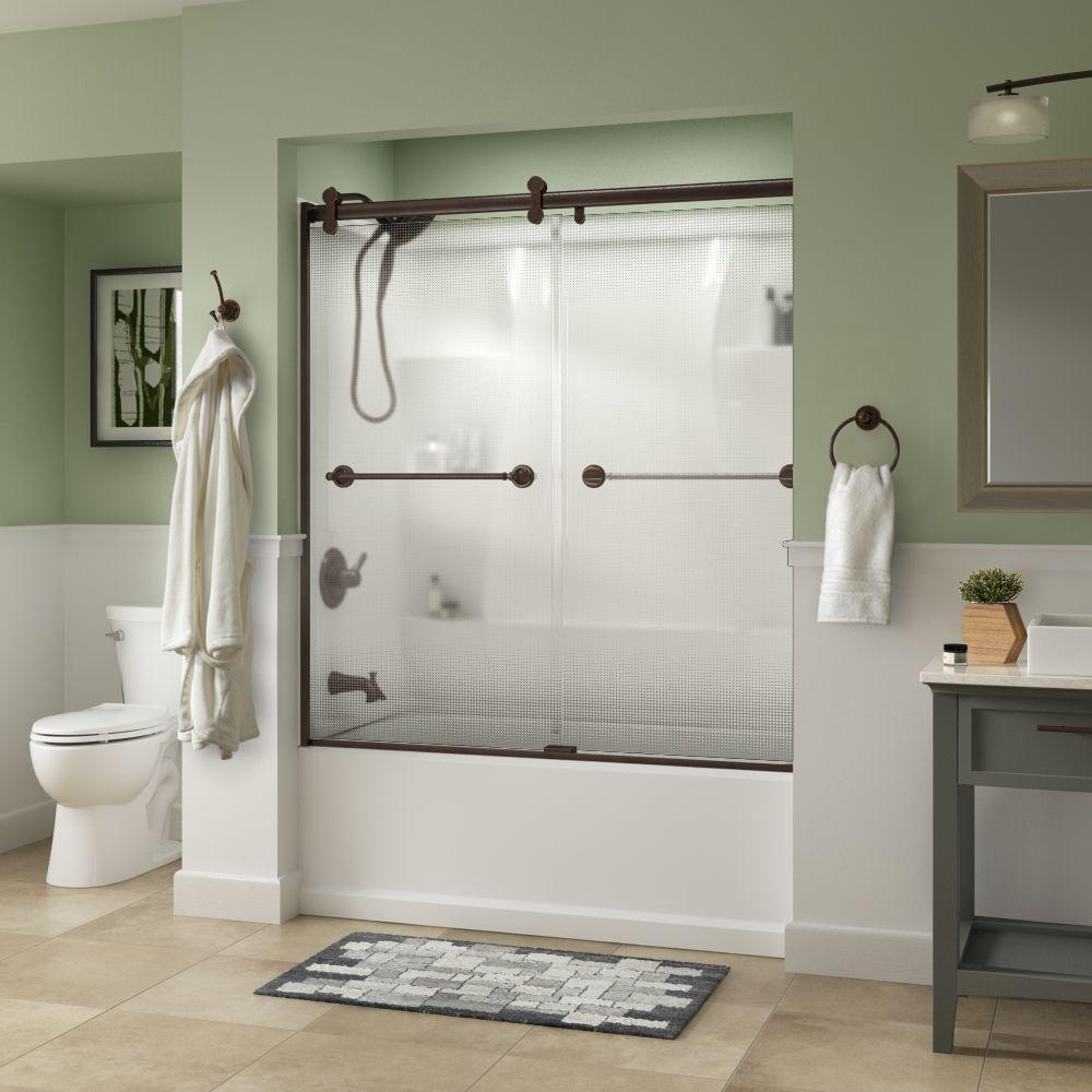 Silverton 60 in. x 58-3/4 in. Semi-Frameless Contemporary Sliding Bathtub Door in Bronze with Droplet Glass