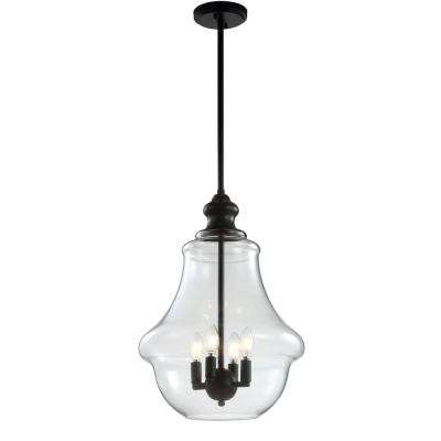 Adam 16 in. 4-Light Oil Rubbed Bronze Adjustable Metal/Glass LED Pendant