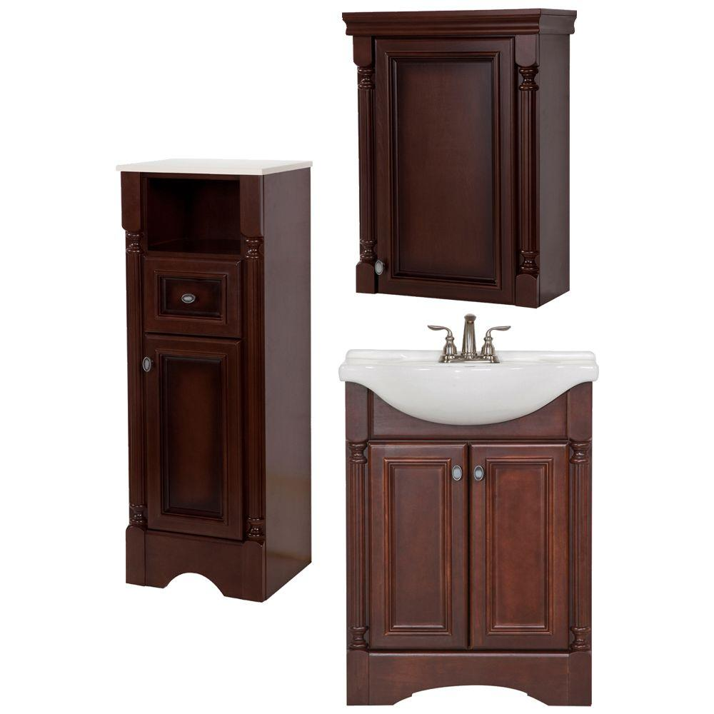 Elegant Glacier Bay Valencia Bath Suite With 25 In. Vanity With Vanity Top, Mirror,  Linen Tower And OJ In Glazed Hazelnut BSVA25STP3COM HG   The Home Depot