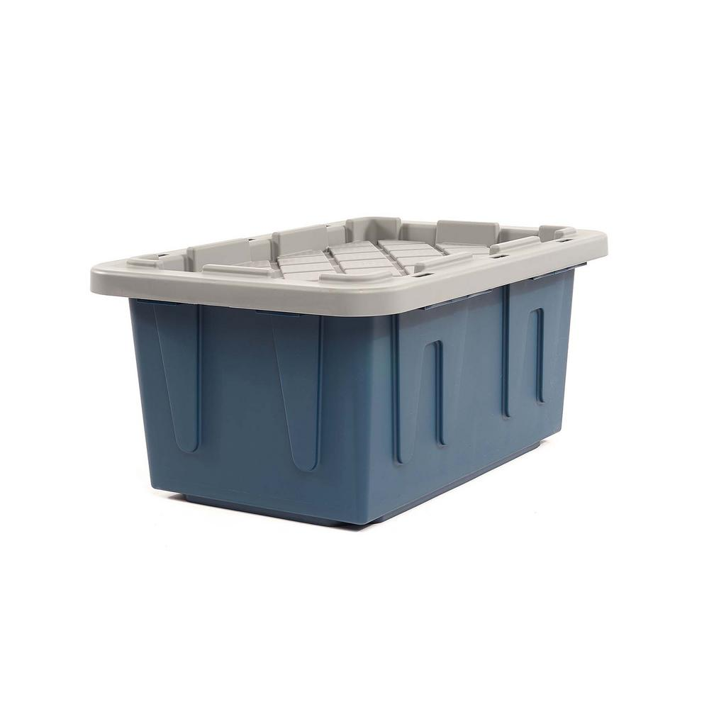 HOMZ EcoStorage 15 Gal. Tough Container, Blue Base with Grey Lid (Set of 4)