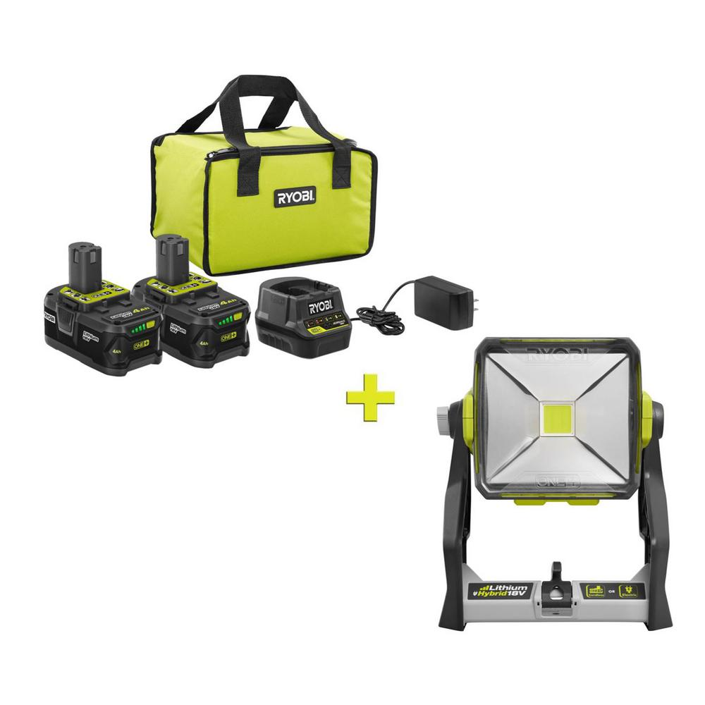 RYOBI 18-Volt ONE+ High Capacity 4.0 Ah Battery (2-Pack) Starter Kit with Charger and Bag with FREE ONE+ 20Watt LED WorkLight was $301.0 now $99.0 (67.0% off)