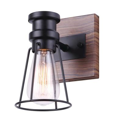 Blake 5 in. 1-Light Matte Black and Faux Wood Vanity Light