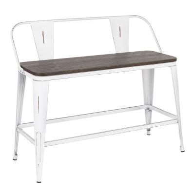 Oregon 26 in. Counter Height Bench in Vintage White Metal and Espresso Wood