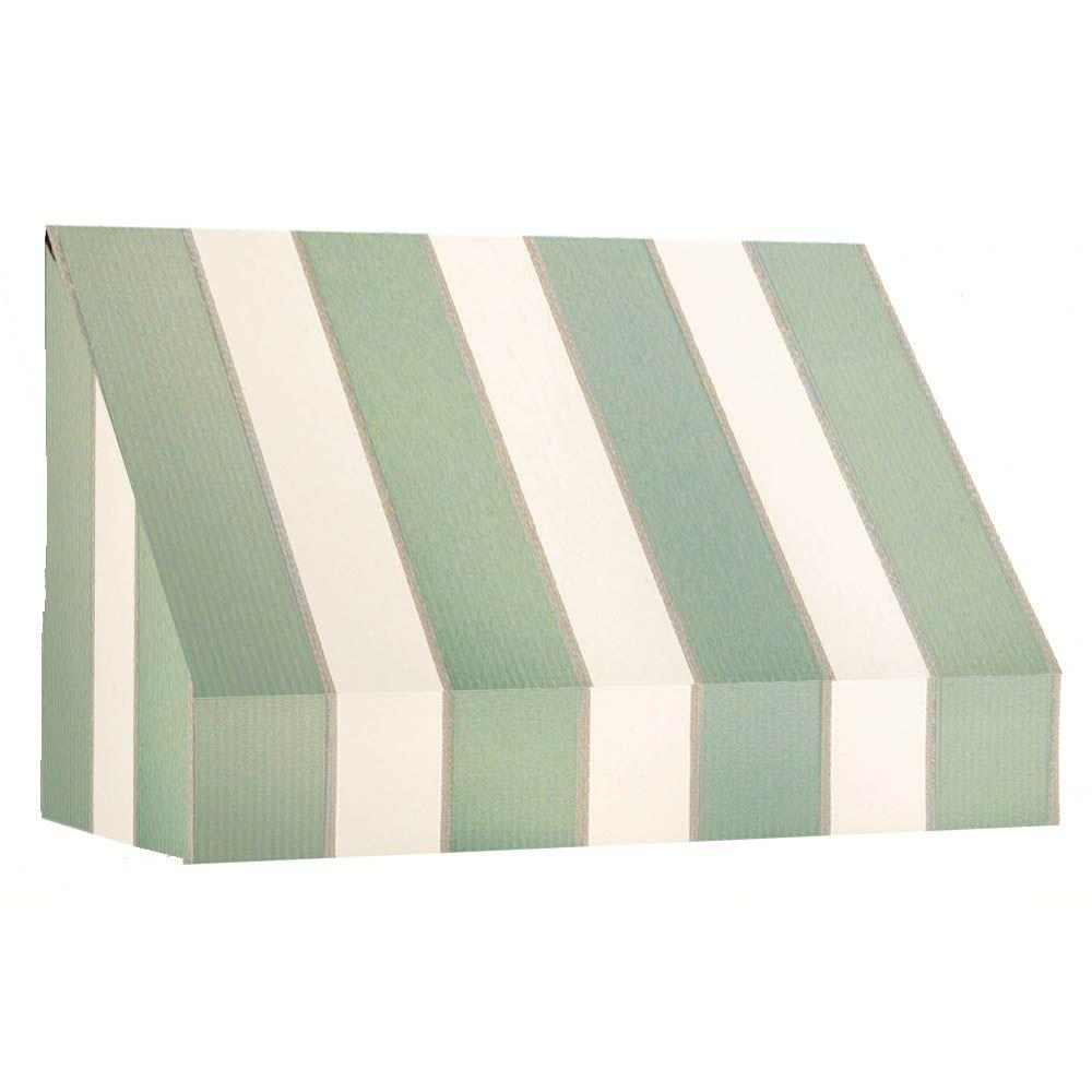 AWNTECH 14 ft. New Yorker Window Awning (31 in. H x 24 in. D) in Sage/Linen/Cream Stripe