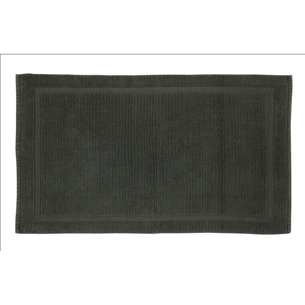 Charleston 21 in. x 34 in. 100% Organic Cotton Bath Rug in Slate Gray