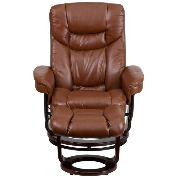 Flash Furniture Contemporary Brown Vintage Leather Recliner and Ottoman with