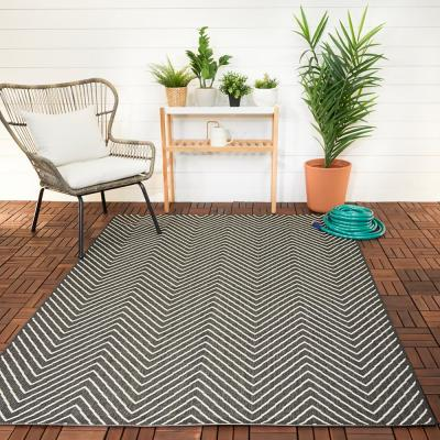 Chevron Maze Black 8 ft. x 10 ft. Indoor/Outdoor Area Rug