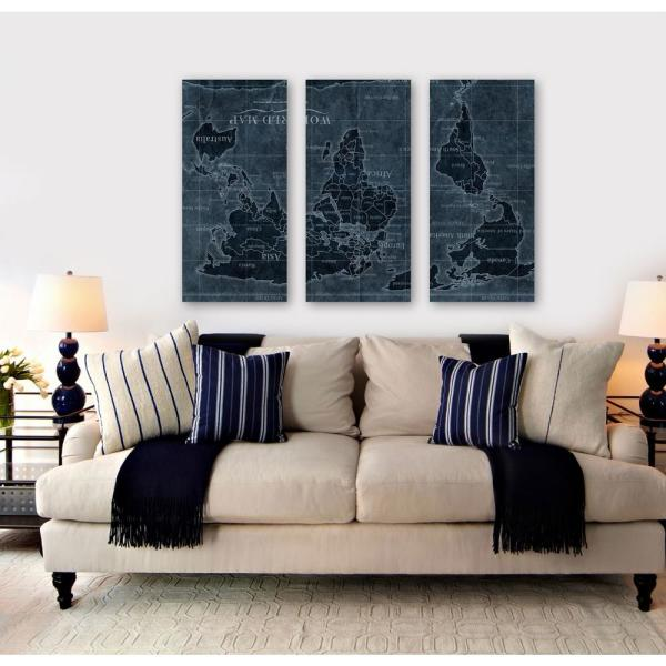 Australia Map Upside.Upside Down Map Of The World Triptych By Oliver Gal Framed Canvas Wall Art