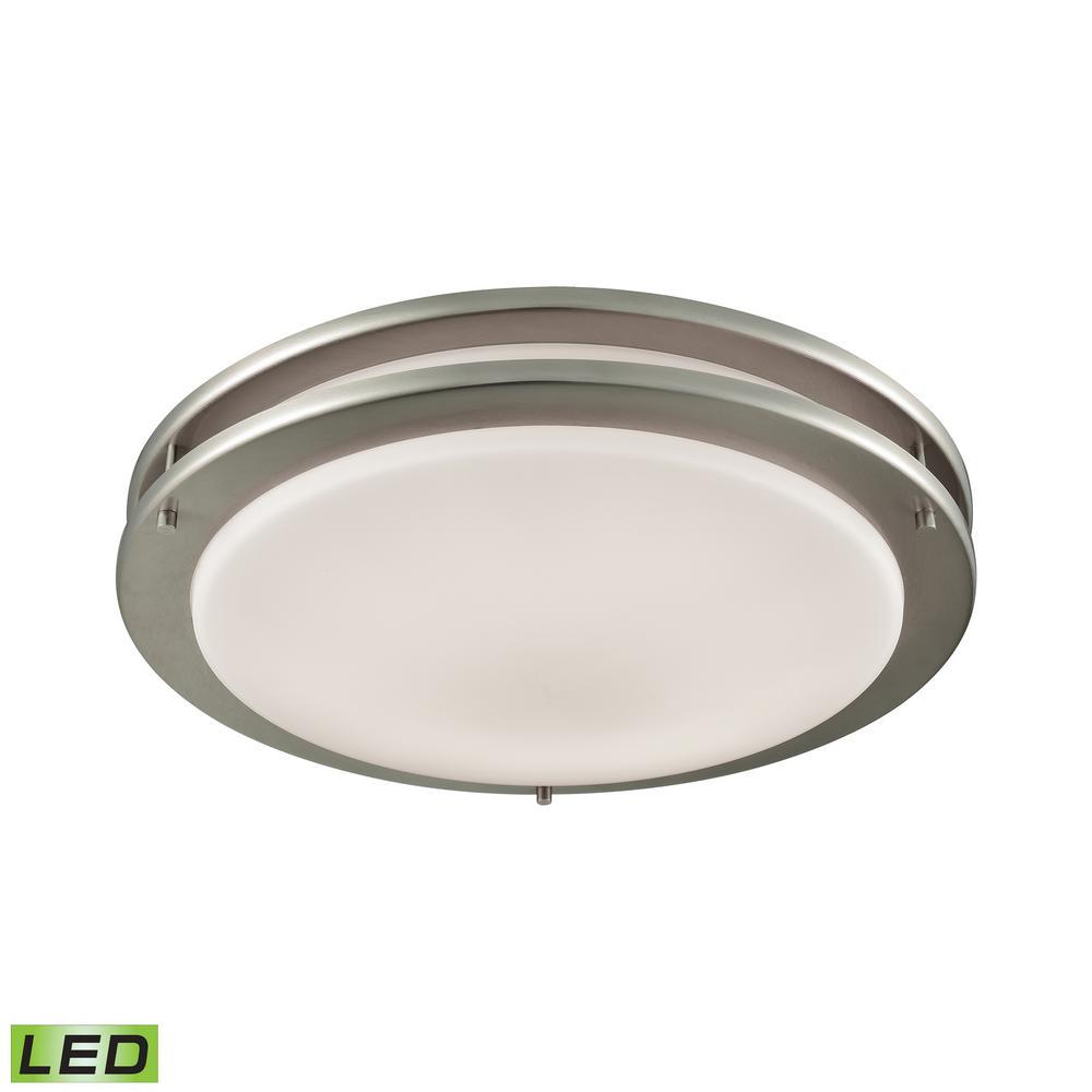 Clarion 75-Watt Brushed Nickel Integrated LED Flushmount