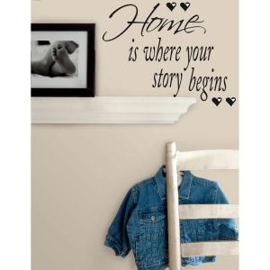7.35 in. x 26 in. Home is Where Your Story Begins Peel and Stick Quotable Wall Decal