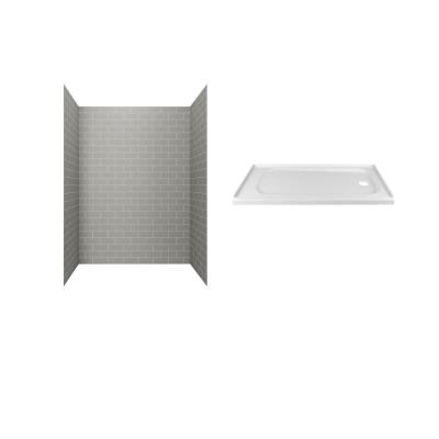 Passage 60 in. x 72 in. 2-Piece Glue-Up Alcove Shower Wall and Base Kit with Right Hand Drain in Gray Subway Tile