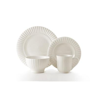16-Piece Maison White Stoneware Dinnerware Set (Service for 4)