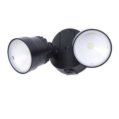 2-Light Black Outdoor Integrated LED Wall Mount Flood Light