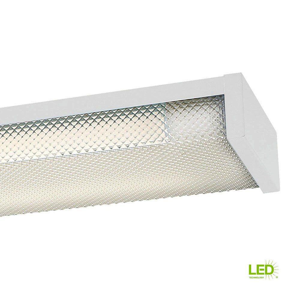 4 ft. x 5 in. 2-Light White LED Slim Flushmount MV Wraparound Light with T8 LED 5000K Tubes