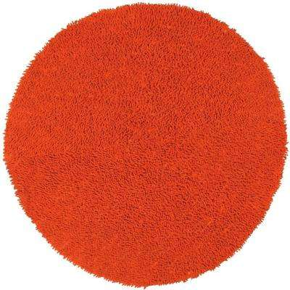 Orange Shag Chenille Twist 2 ft. x 2 ft. Round Accent Rug