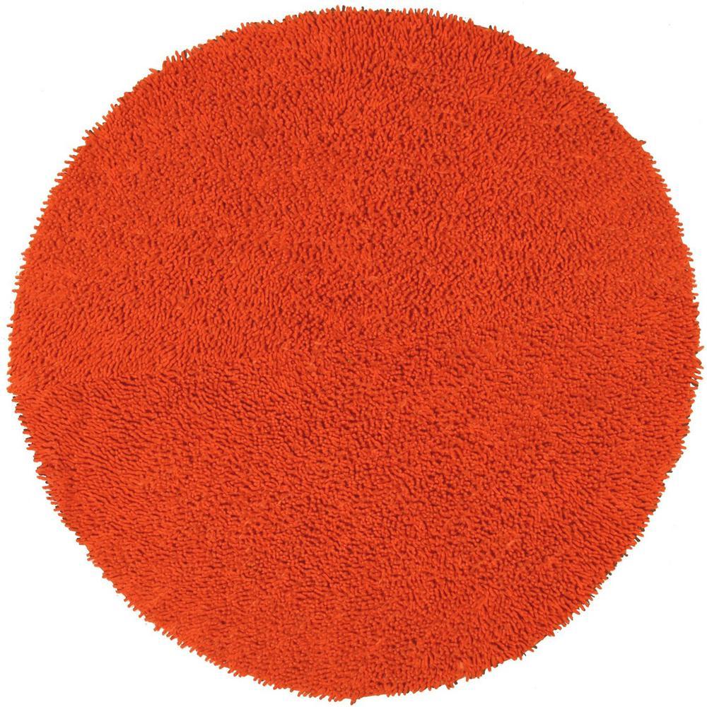 Orange Shag Chenille Twist 3 ft. x 3 ft. Round Accent Rug