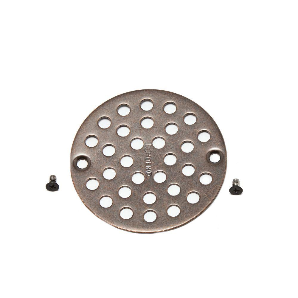 """4 in. Shower Drain Cover for 3-3/8"""" Opening in Oil Rubbed"""