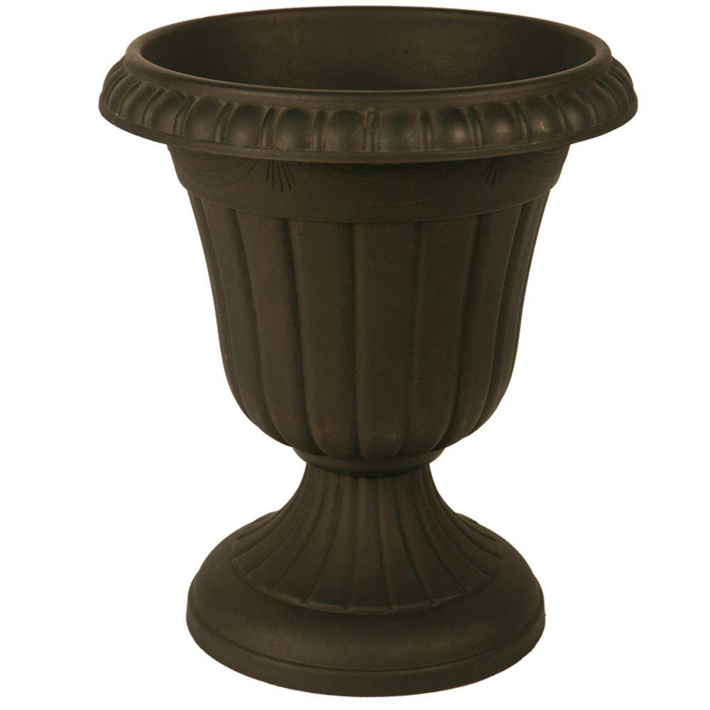 Traditional 16 in. x 18 in. Black Plastic Urn