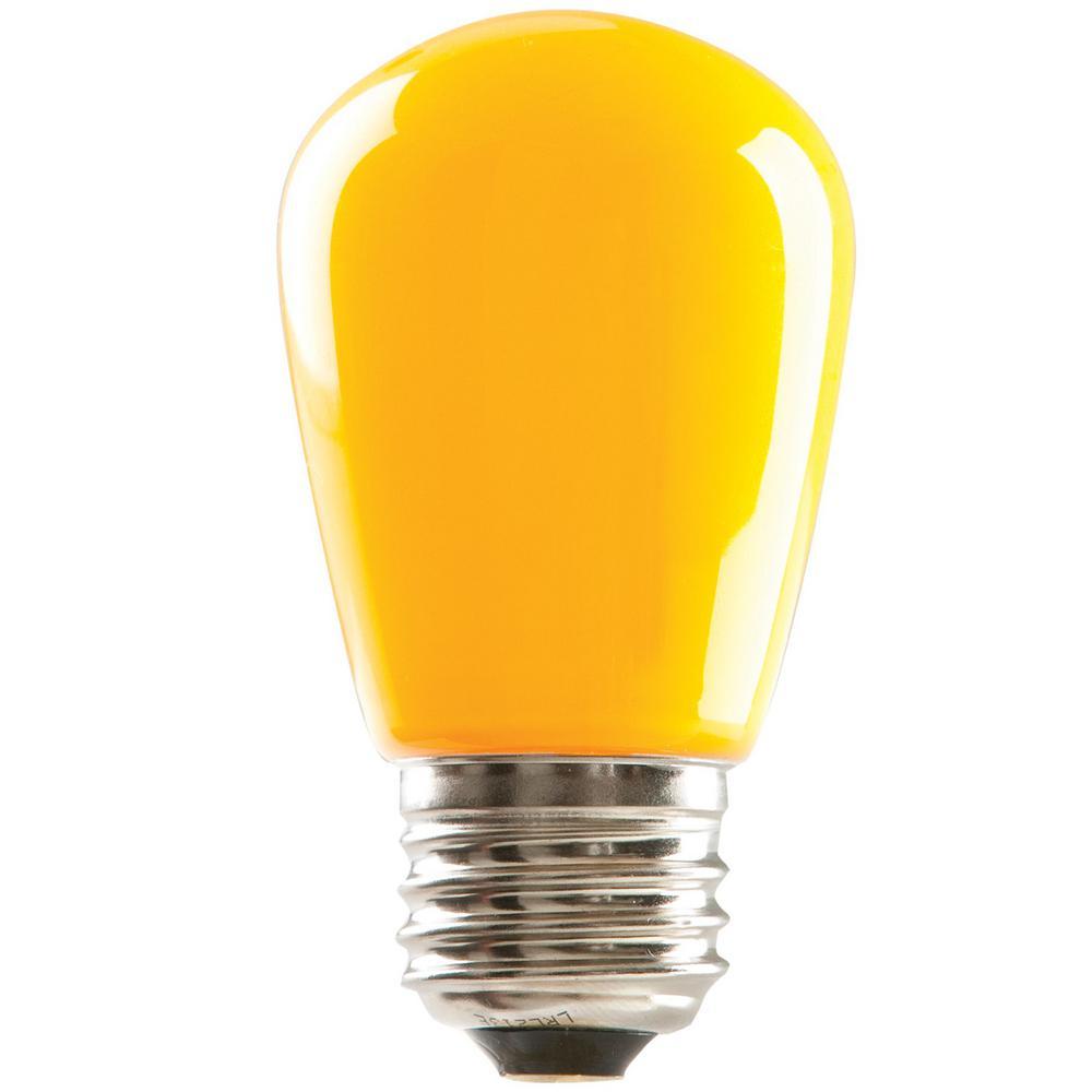Halco Lighting Technologies 11-Watt Equivalent 1.4-Watt S14 Dimmable LED Sign Light Bulb Yellow IP65 Wet Location (25-Pack) 80521