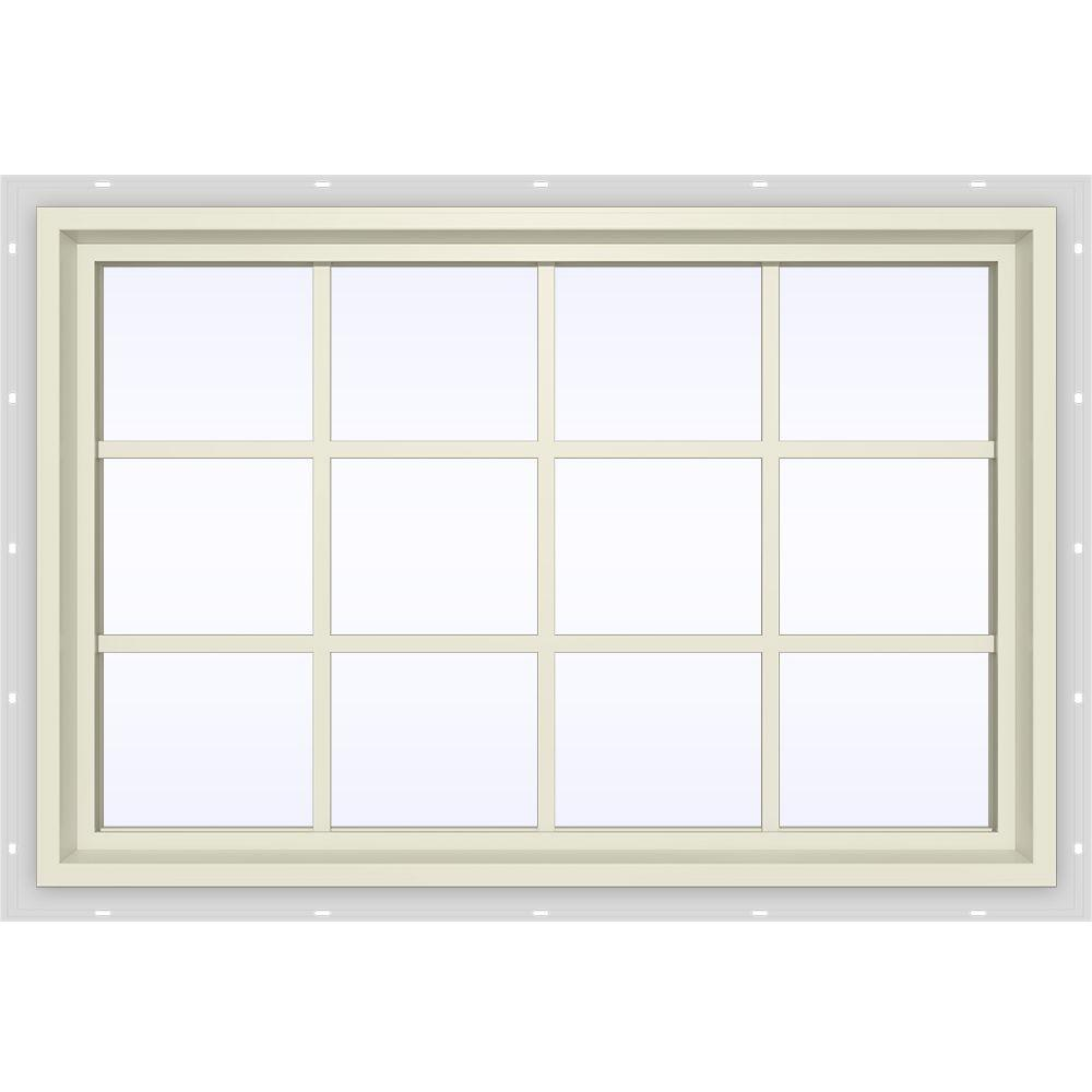 JELD-WEN 47.5 in. x 35.5 in. V-4500 Series Fixed Picture Vinyl Window with Grids in Yellow