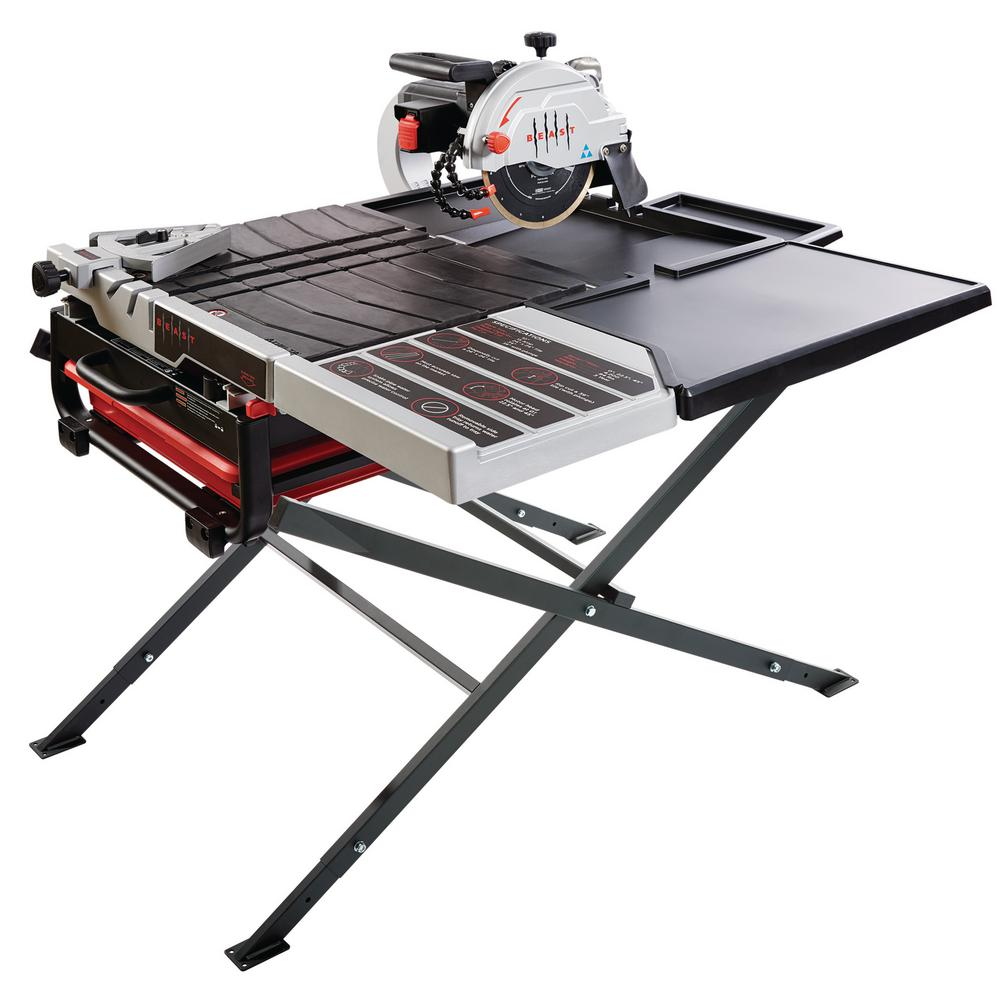Beast 10 in. 115 Amp Wet Tile Saw Kit with Scissor Stand