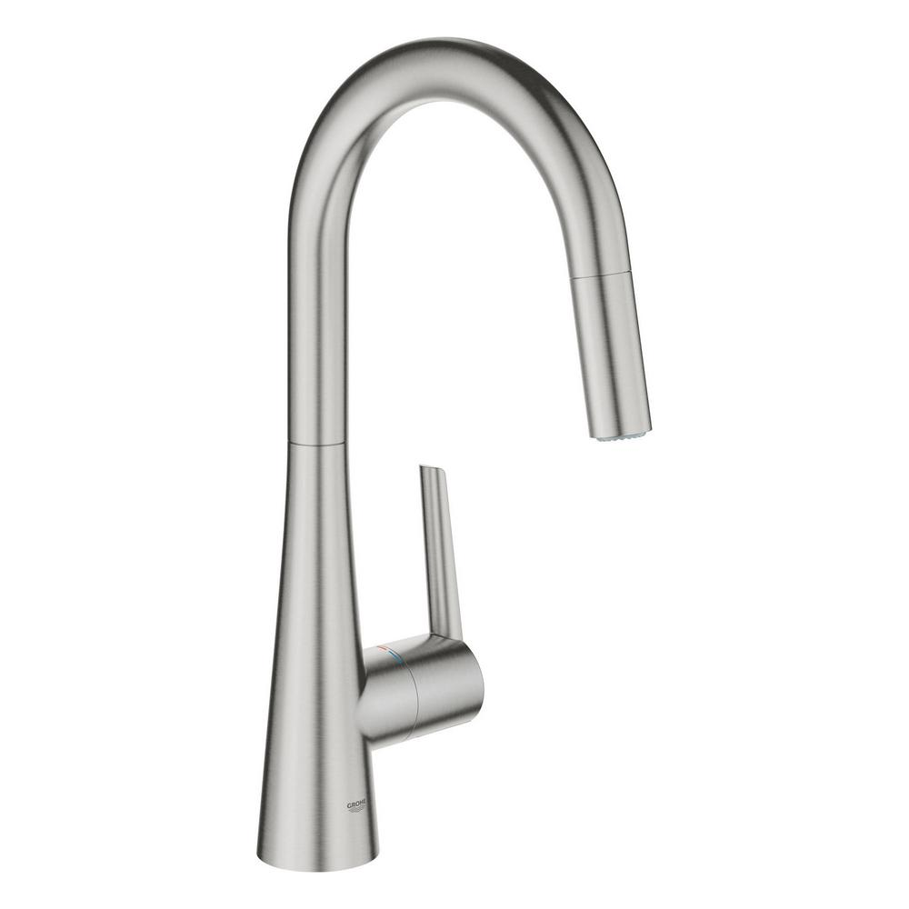 GROHE GROHE Ladylux L2 Single-Handle Pull-Out Sprayer Kitchen Faucet with Dual Spray in SuperSteel Infinity Finish