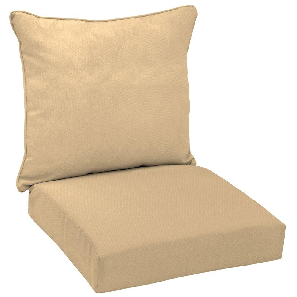Arden Twilight Solid Khaki 2-Piece Outdoor Deep Seating Cushion-DISCONTINUED