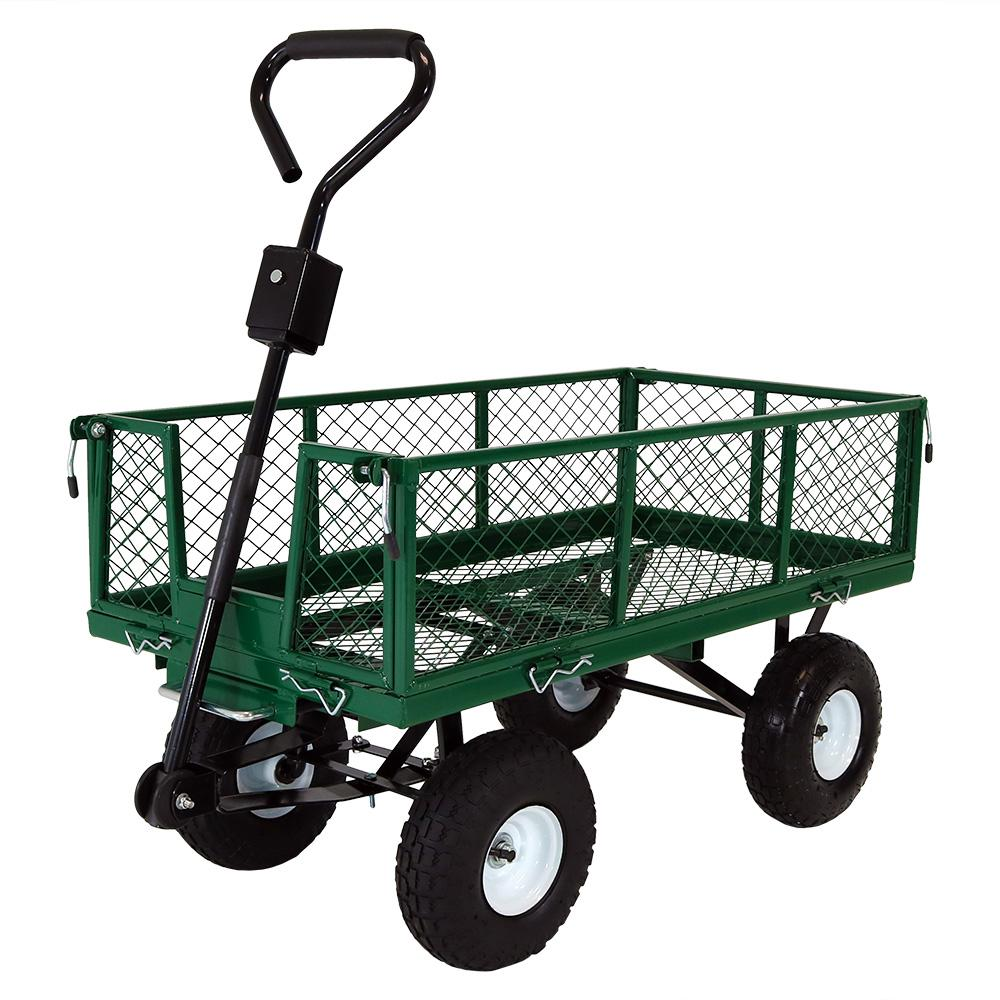 Sunnydaze Decor Green Steel Heavy-Duty Utility Cart with Folding  Sides-LW-DUC12-GN - The Home Depot