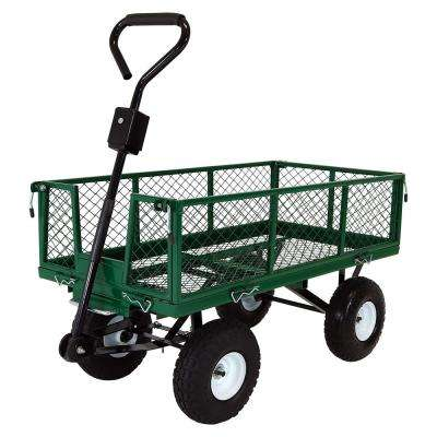 Green Steel Heavy-Duty Utility Cart with Folding Sides