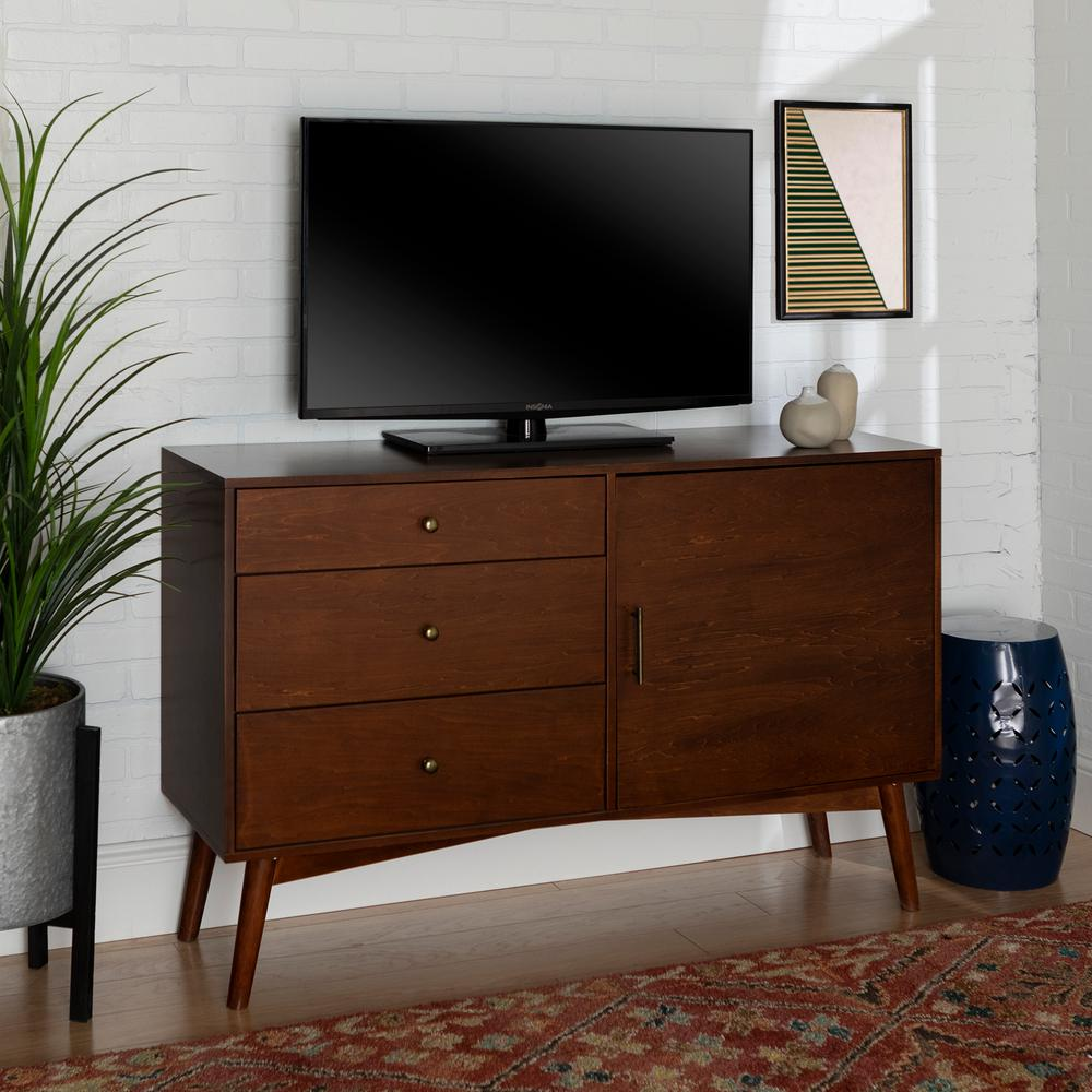 Walker Edison Furniture Company 55 in. Walnut MDF TV Cabinet with 3 Drawer Fits TVs Up to 55 in. with Doors, Brown was $426.3 now $266.17 (38.0% off)