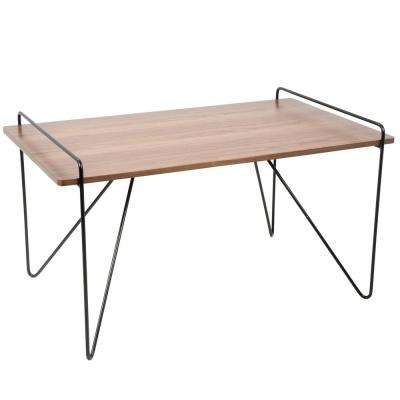 Loft Walnut and Black Coffee Table with Metal Hairpin Legs