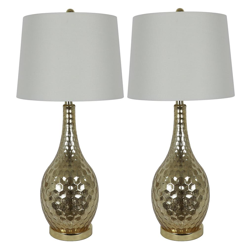 Decor Therapy Fletcher Genie 29.5 in. Gold Glass Table Lamps with Shade (Set of 2)