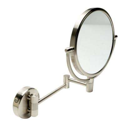 8 in. x 8 in. Round Framed Wall Mounted 5X and 0X Mirror in Brushed Nickel