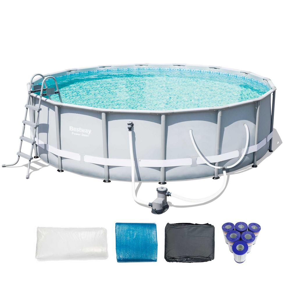 Bestway 16 ft. x 48 in. D Power Steel Metal Frame Round Above Ground Pool  with 6 Cartridges