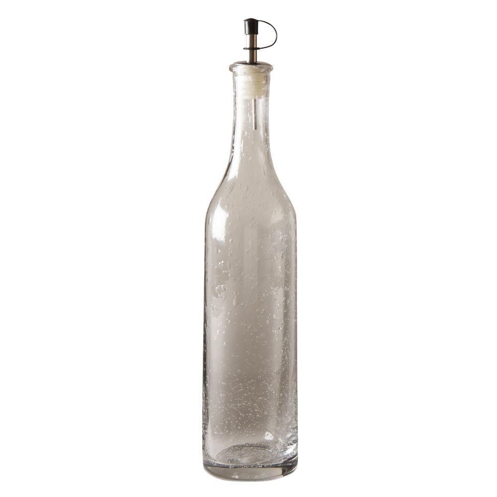 24 oz. Bubble Glass Oil Bottle with Capped Spout