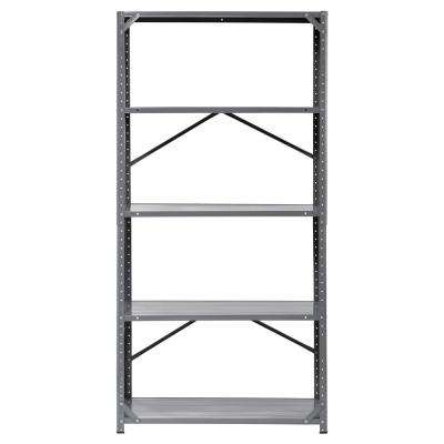 72 in. H x 36 in. W x 16 in. D 5-Shelf Steel Shelving Unit in Gray