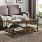 40 in. Reclaimed Barnwood Industrial Metal Accent Coffee Table