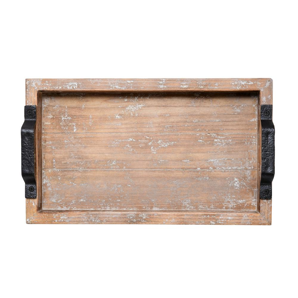 16 in. White Wash Distressed Wood Tray