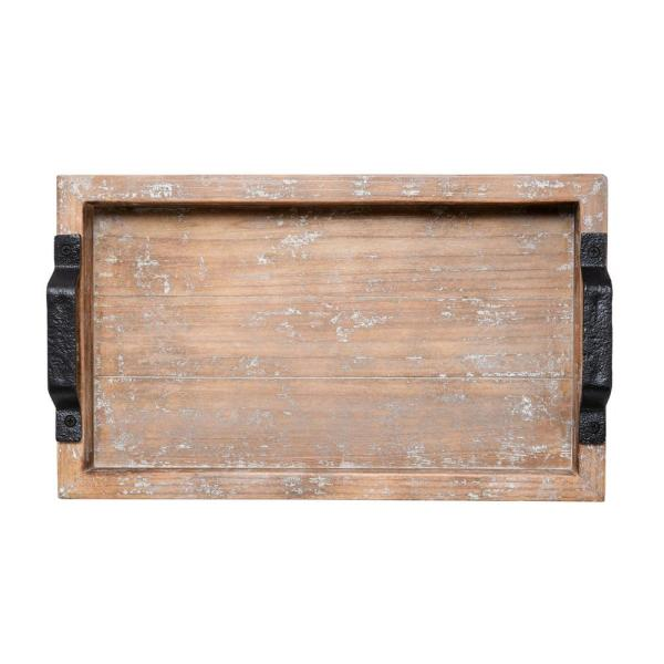Elements 16 in. White Wash Distressed Wood Tray 5230303