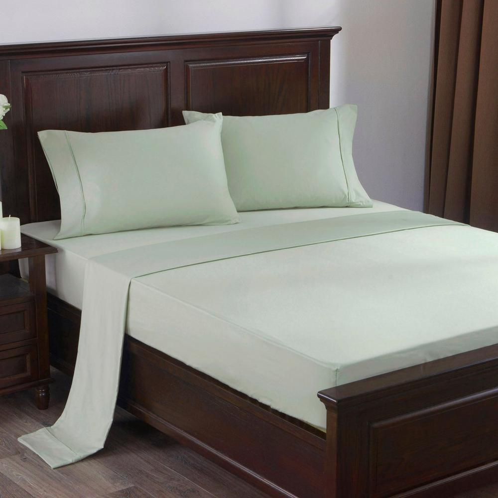 300 Thread Count 100% Cotton Satin Weave 4-Piece Bed Sheet Set Queen in Moss Green