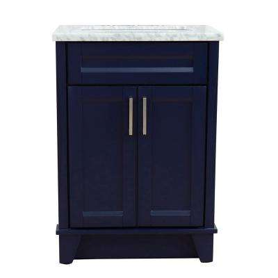 25 in. W x 22 in. D Single Bath Vanity in Blue with Marble Vanity Top in White Carrara with White Rectangle Basin