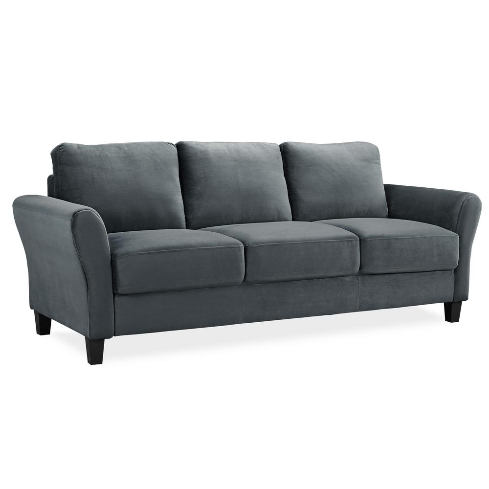 Lifestyle Solutions Wesley Microfiber Sofa with Rolled Arms ...