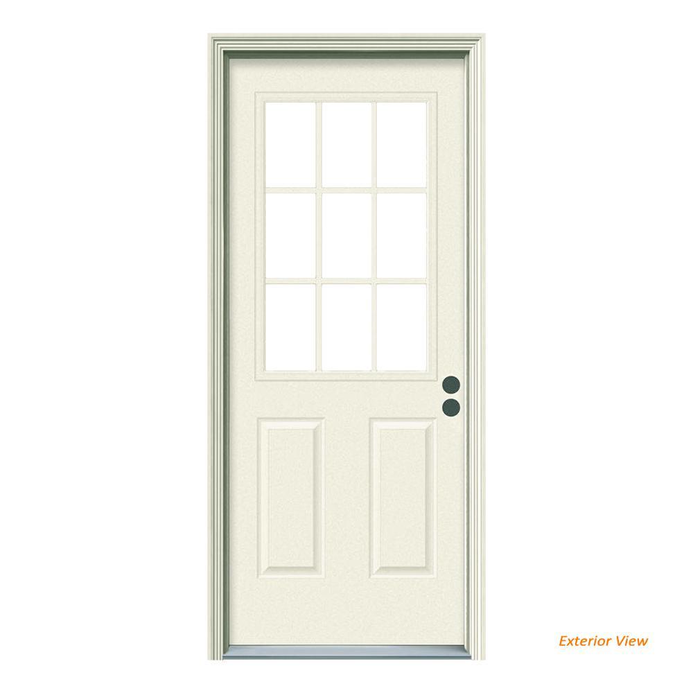 36 in. x 80 in. 9 Lite Primed Steel Prehung Left-Hand Inswing Front Door w/Brickmould