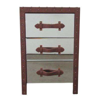 Evelyn 3-Drawer Mirrored Chest with Studded Bonded Leather Accents