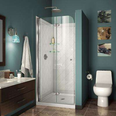 Aqua Fold 36 in. D x 36 in. W x 74 3/4 in. H Bi-Fold Shower Door in Chrome with Shower Base and Backwalls